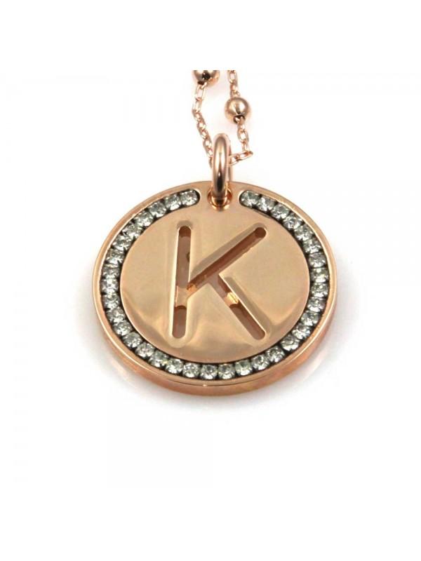 collana con lettera k iniziale ciondolo pendente in bronzo ramato