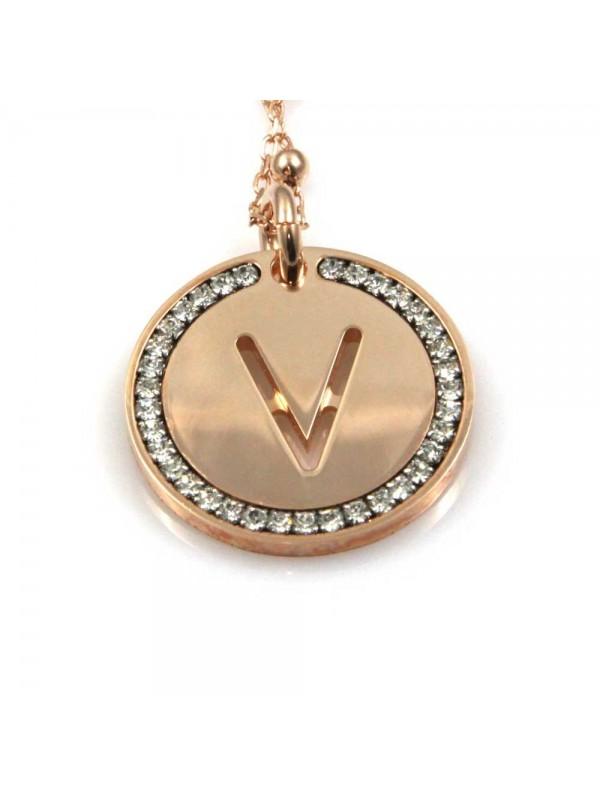 collana con lettera v iniziale ciondolo pendente in bronzo ramato
