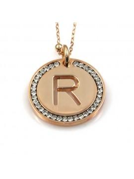 collana con lettera r iniziale ciondolo pendente in bronzo ramato