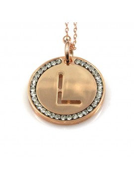 collana con lettera l iniziale ciondolo pendente in bronzo ramato