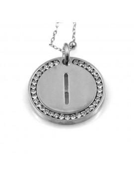 collana con lettera i iniziale ciondolo pendente in bronzo argentato