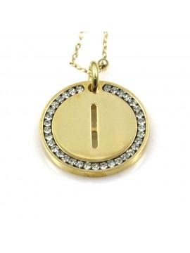 collana con lettera i iniziale ciondolo pendente in bronzo dorato