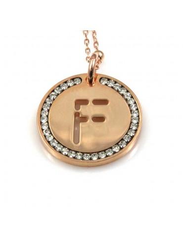 collana con lettera f iniziale ciondolo pendente in bronzo ramato