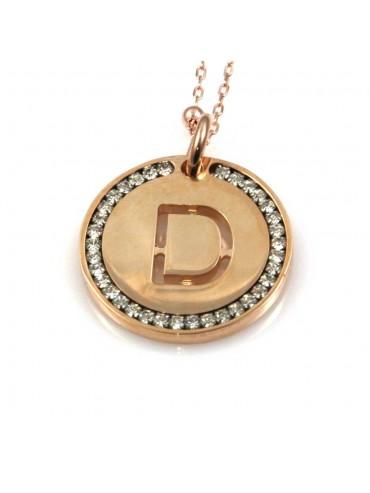 collana con lettera d iniziale ciondolo pendente in bronzo ramato