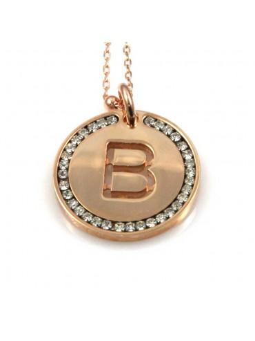 collana con lettera b iniziale ciondolo pendente in bronzo ramato