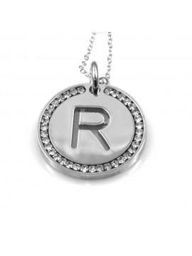 collana con lettera r iniziale ciondolo pendente in bronzo argentato
