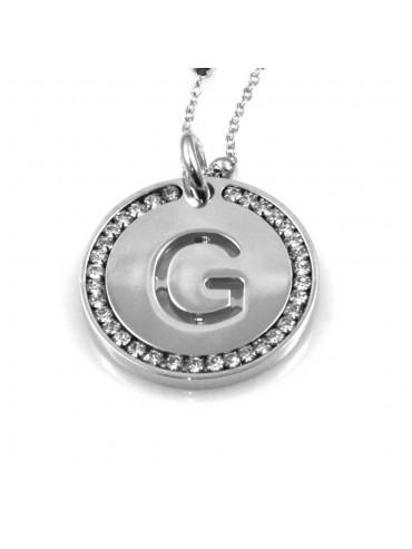 collana con lettera g iniziale ciondolo pendente in bronzo argentato