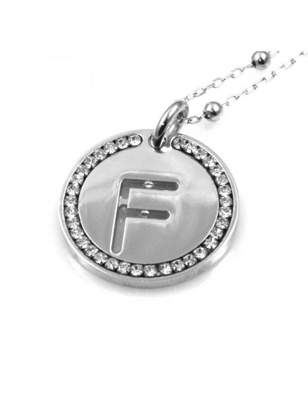 collana con lettera f iniziale ciondolo pendente in bronzo argentato