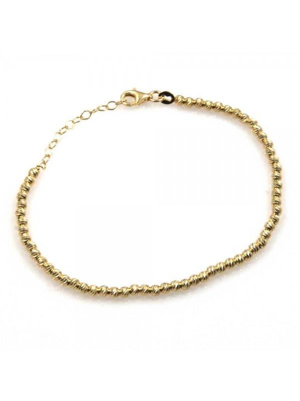 bracciale a palline diamantate in argento 925 dorato bellissimo