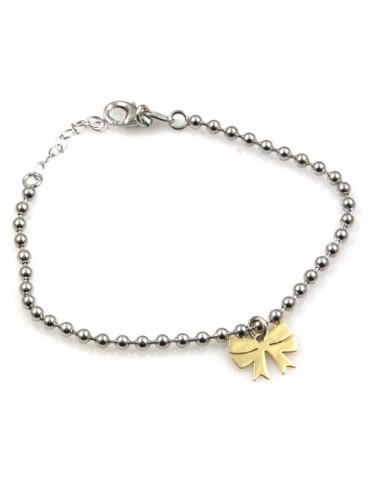 bracciale con fiocco dorato in argento 925