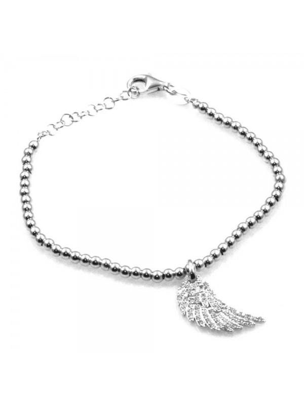 bracciale con ala ciondolo pendente in argento 925 e strass