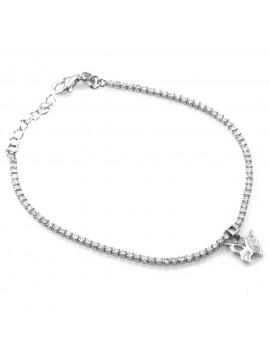 bracciale in argento con ciondolo pendente farfalla in argento 925 e strass