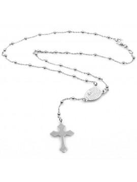 collana rosario in argento 925 e strass scritta ave maria
