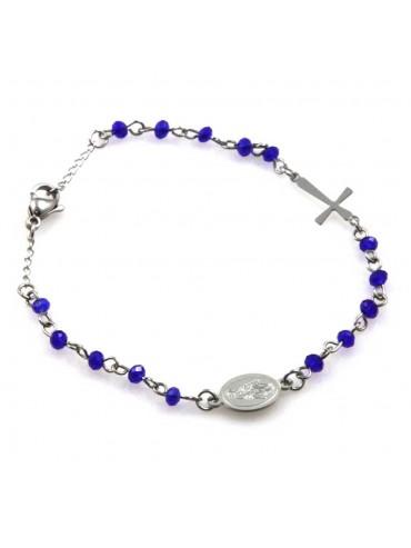 bracciale rosario postine colorate azzurre in acciaio