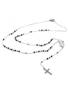 collana rosario in acciaio postine bicolore