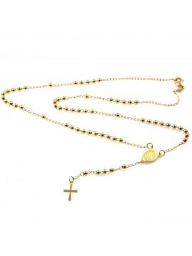 collana rosario in acciaio dorato