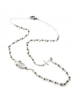 collana rosario in acciaio modello girocollo