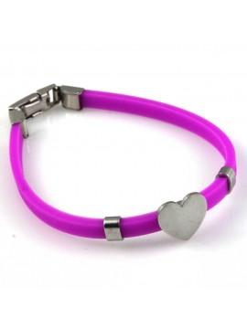 bracciale donna con cuore in acciaio e caucciu personalizzabile con incisione