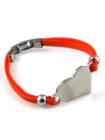 bracciale donna con cuore in acciaio e ecopelle personalizzabile con incisione