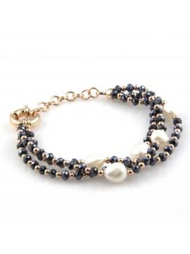 bracciale da donna con perle e pietre sfaccettate multifilo
