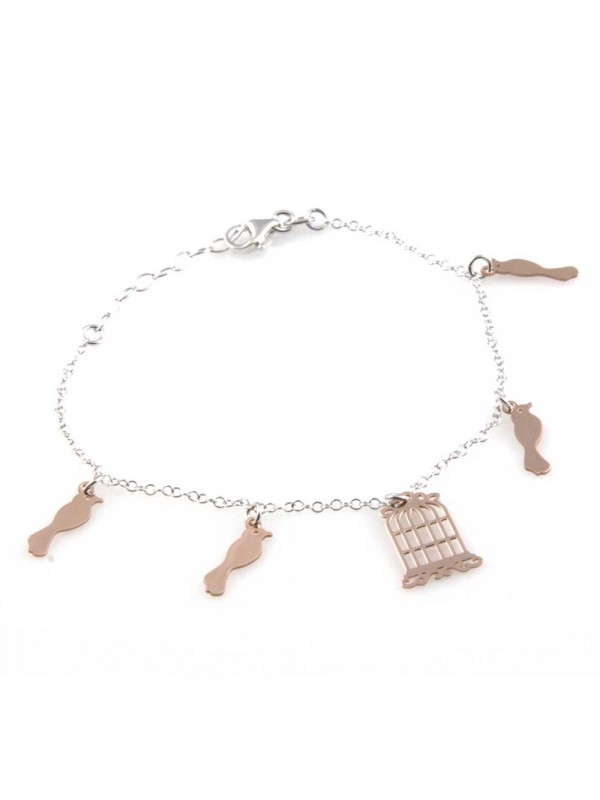bracciale donna in argento 925 con ciondoli gabbia e uccellini
