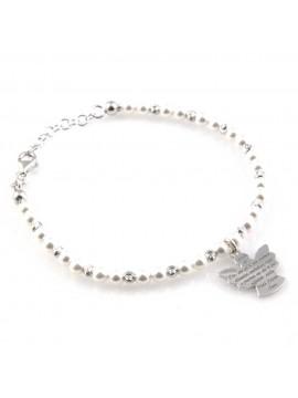 bracciale con angioletto in argento perle e preghiera angelo custode