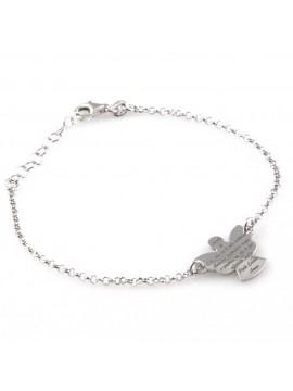 bracciale con angioletto in argento e preghiera angelo custode