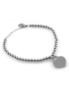bracciale con cuore da donna in acciaio catena a palline  personalizzabile con incisione