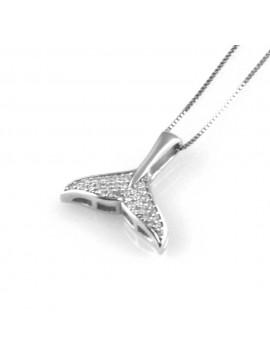 collana con coda di balena ciondolo in argento 925 e strass zirconi