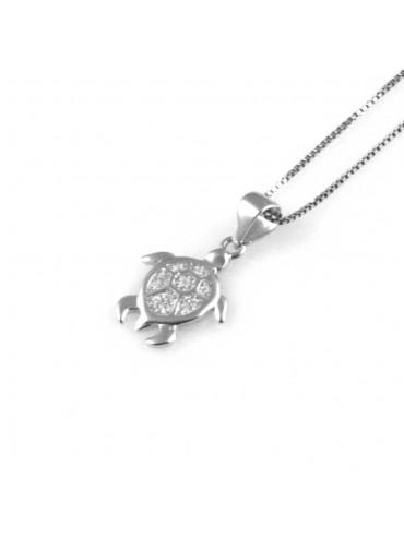 collana con tartaruga ciondolo in argento 925 e strass zirconi gioiello donna