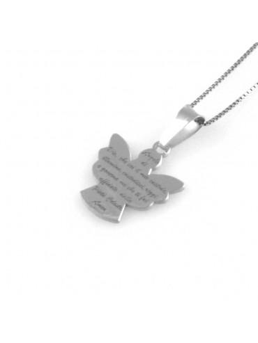 collana angioletto ciondolo preghiera angelo custode in argento 925 gioiello donna