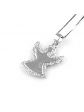 collana angelo ciondolo in argento 925 e strass zirconi gioiello donna