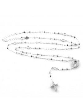 collana rosario in argento 925 e strass zirconi gioiello uomo donna