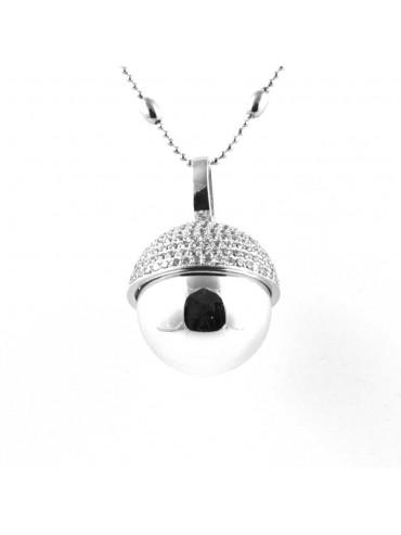 chiama angeli collana ciondolo bola messicana campanellino in bronzo e strass luminosissimo ft3 - cll1474