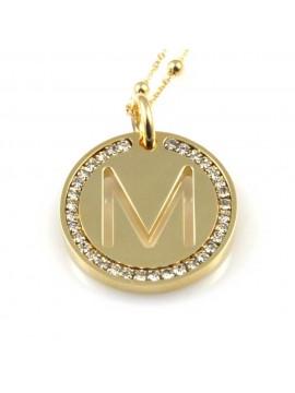 collana con lettera m iniziale ciondolo pendente in bronzo dorato