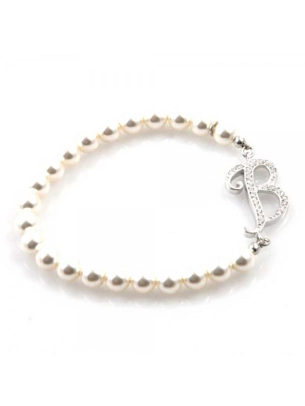 bracciale donna di perle con iniziale lettera b con strass elastico