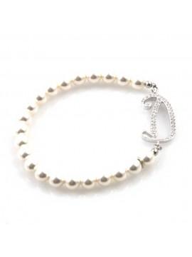 bracciale donna di perle con iniziale lettera d con strass elastico