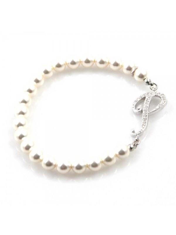 bracciale donna di perle con iniziale lettera p con strass elastico