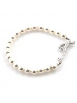 bracciale donna di perle con iniziale lettera t con strass elastico