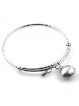 bracciale donna rigido crisalide gioiello argentato con ciondolo rotondo misura unica