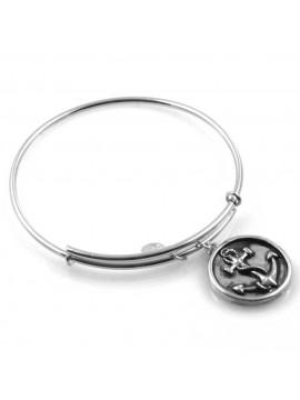 bracciale donna rigido crisalide gioiello argentato con ciondolo ancora soggetti misura unica