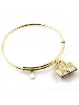 bracciale donna rigido crisalide gioiello dorato con ciondolo borsetta misura unica