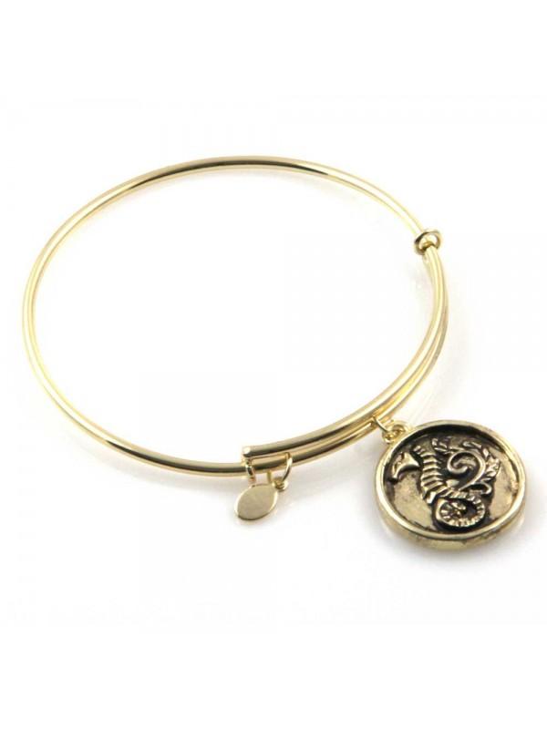 bracciale donna rigido crisalide gioiello dorato con ciondolo cavalluccio marino misura unica
