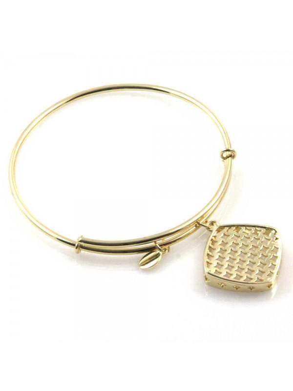 bracciale donna rigido crisalide gioiello dorato con ciondolo romboidale misura unica