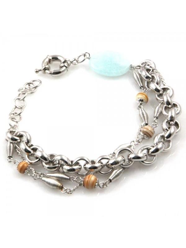 bracciale donna in bronzo gioiello con pietre dure cm 19