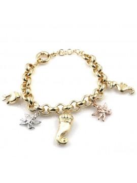 bracciale donna in bronzo gioiello con ciondoli angeli corno delfino cavalluccio marino misura cm 19