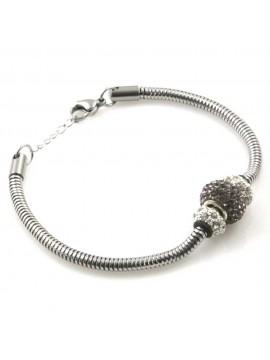 bracciale donna con rotelline con strass gioielli in acciaio catena tubolane cm 21