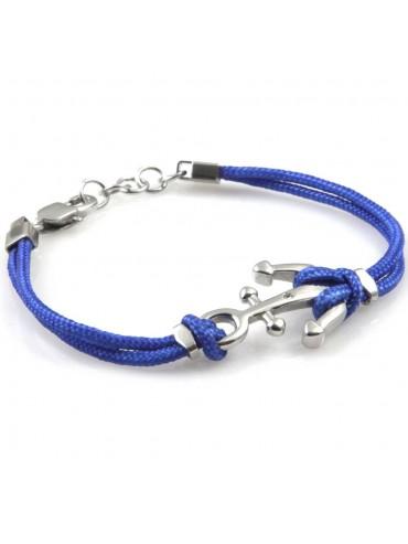 bracciale uomo con ancora gioielli in acciaio inossidabile e cordoncino azzurro cm 21 mm 20