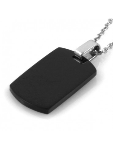 Collana piastra in acciaio nera