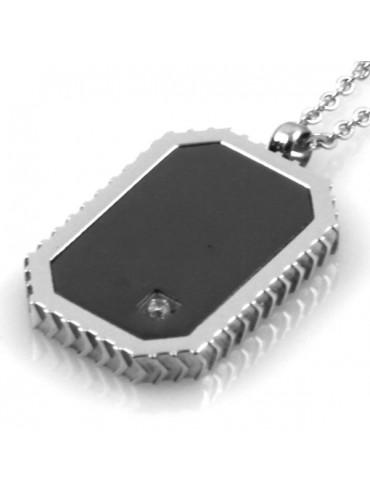 Collana piastra in acciaio con strass